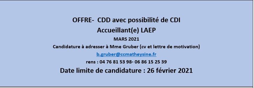 Offre d\\\'emploi Accueillante LAEP-janvier 2021
