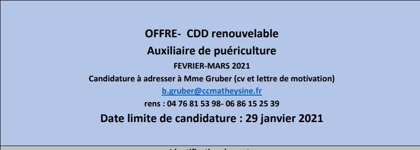 Offre d\\\'emploi Auxiliaire puériculture-janvier 2021