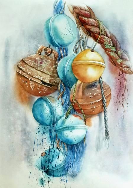 aquarelle boules de pêche 55x70.JPG
