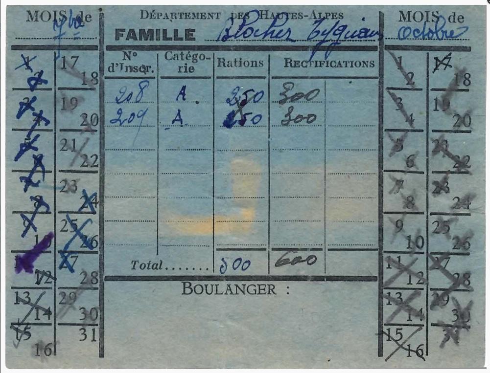 Rationnement – Émissions locales (1939-1949) – (Hautes-Alpes) – Carte de boulangerie.jpg