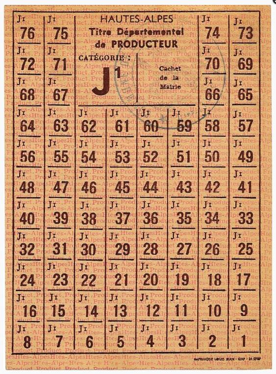Rationnement – Émissions locales (1939-1949) – (Hautes-Alpes) – Titre départemental de non producteur catégorie J1.jpg