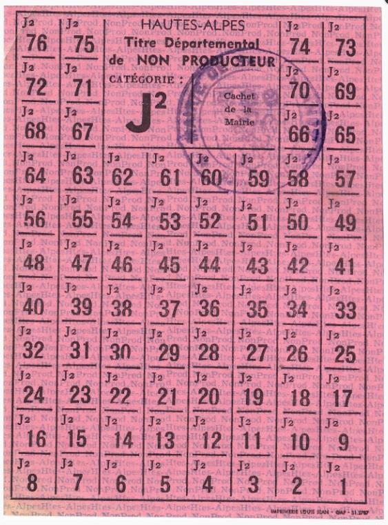 Rationnement – Émissions locales (1939-1949) – (Hautes-Alpes) – Titre départemental de non producteur catégorie J2.jpg