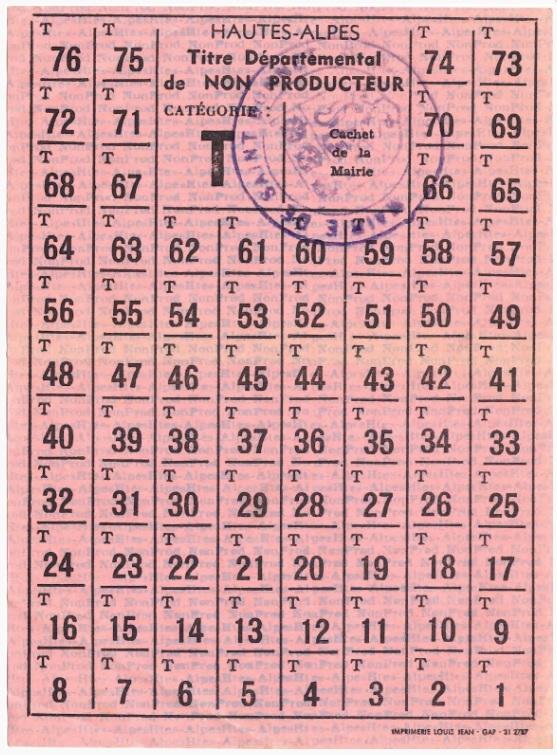 Rationnement – Émissions locales (1939-1949) – (Hautes-Alpes) – Titre départemental de non producteur catégorie T.jpg