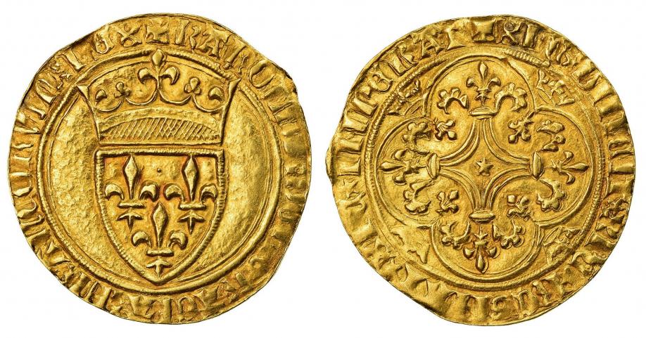 1-Charles VI-écu d'or-Mirabel ou Embrun-Vente Comptoir des monnaies de juillet 2020.jpg