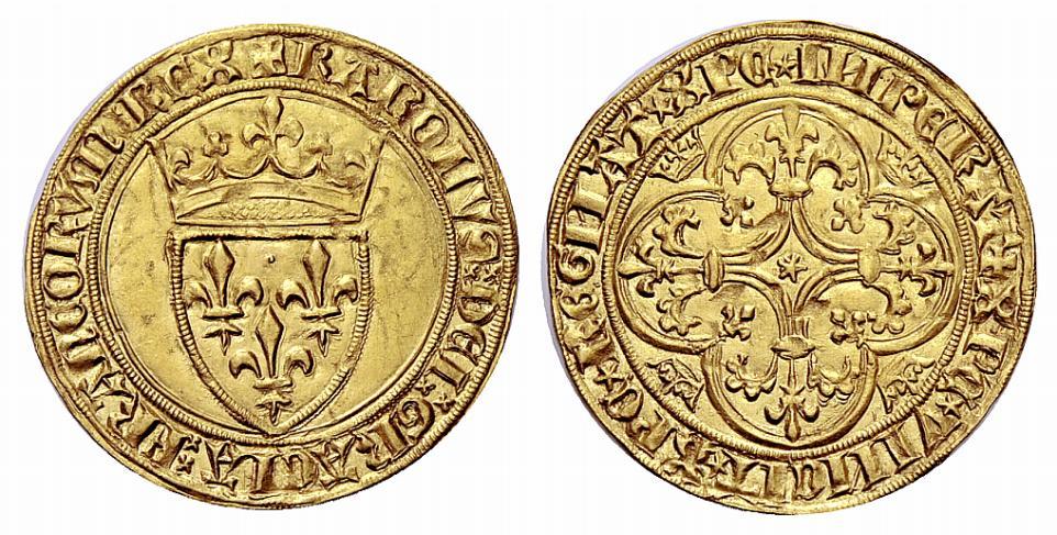 4-Charles VI-écu d'or-Mirabel ou Embrun-vente NAC aution 76 de décembre 2013 n°506 .jpg