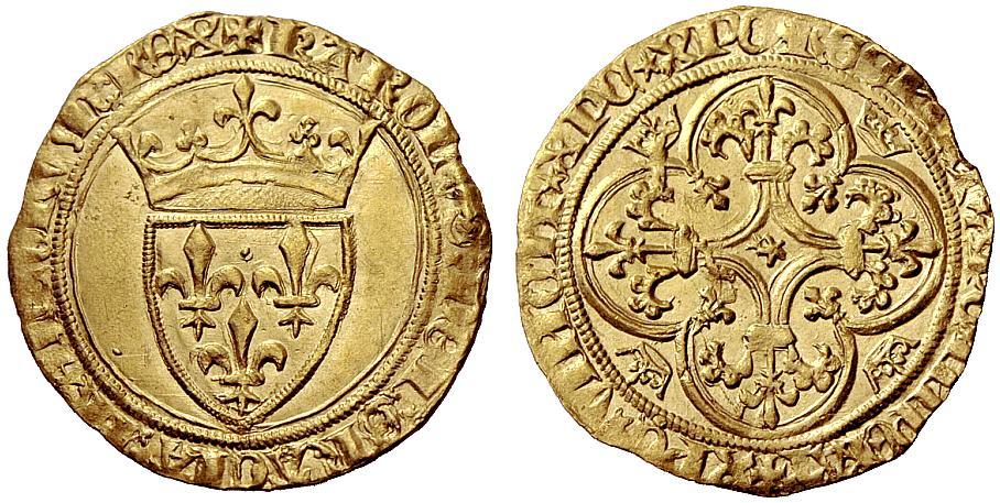 6-Charles VI-écu d'or-Mirabel ou Embrun-vente Hess Divo auction 2 de mai 2011 n°50.jpg