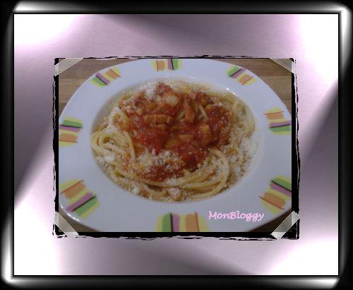 Spaghettonis à la Pancetta et à la Sauce Pimentée