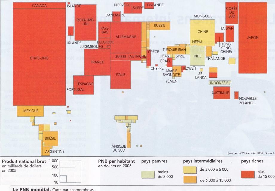 Monde. PIB 2005. Carte anamorphose.jpg