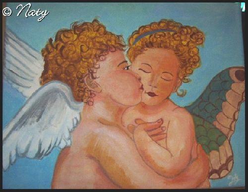 The first kiss, d\'après William Bouguereau