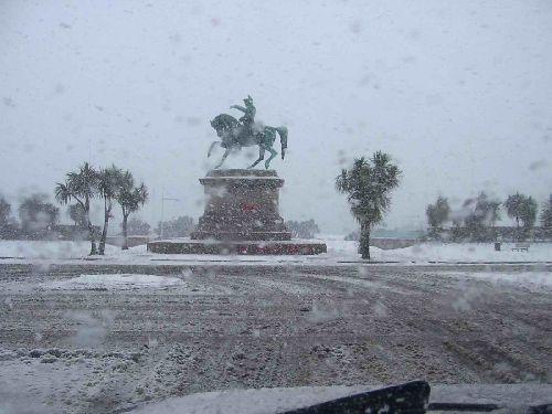 Napoléon sous la neige (Cherbourg-Octeville - Normandie - France)