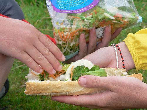 Coup de chance : du pain français (une des rares fois !) dans lequel on met de la salade toute prête