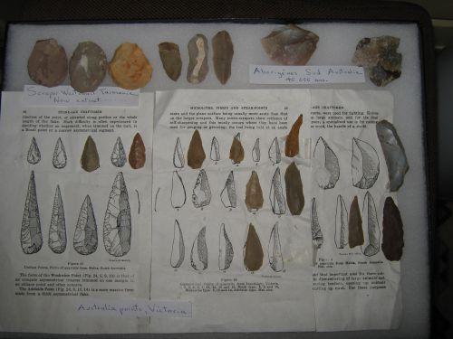 Matériel provenant de cultures  Aborigène  d'Australie et de et Tasmanie .