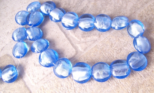 Perles verre murano feille argent silver foil PVE010.JPG
