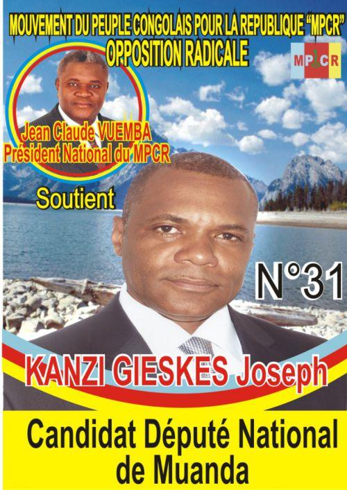 KANZI GEISKES Joseph, candidat député national de Muanda