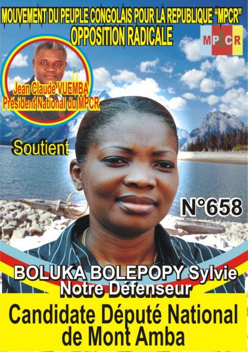 BOLUKA BOLEPOPY Sylvie, candidate député national de Mont  Amba