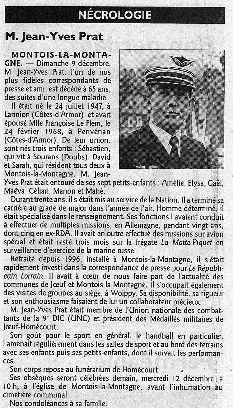 Message aux anciens de la MMFL: Un camarade Jean Yves Prat