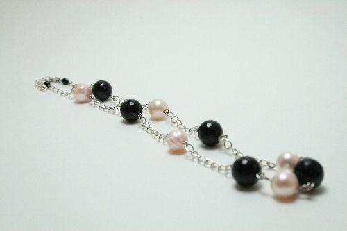 Collier de perles de culture et perles de verre