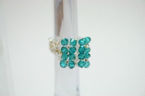 Bague 4 fleurs swarovski turquoise