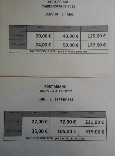 Tarifs escales Port Ariane Lattes 2012