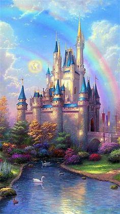 Bel arc-en-ciel sur un beau château.