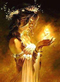 Lumière spirituelle dans nos mains.