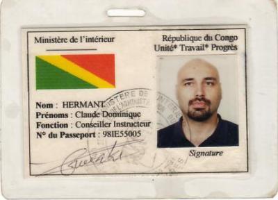 La carte congolaise de conseiller instructeur de Claude Hermant amedy coulibaly charlie hebdo survivalisme