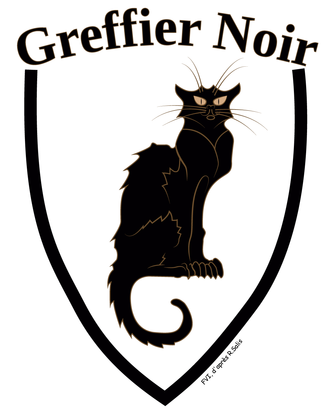 Le blason du site Le Greffier Noir, réalisé par FVI d'après Le Chat Noir de Salis