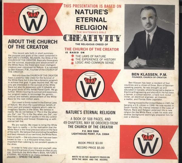 Pochette d'un disque de propagande du RAHOWA. L'on distingue le blason principal de l'organisation. survivalisme racisme bad nature's eternal Religion The whiteman's bible creativity