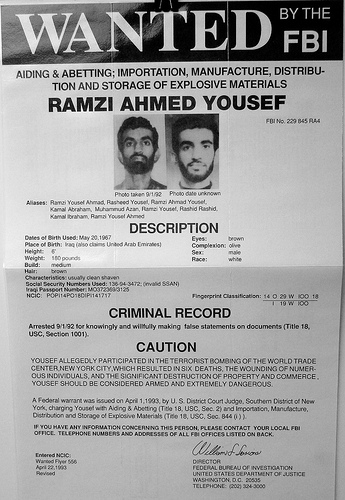L'avis de recherche du FBI contre RAMZI AHMED YOUSSEF WTC takfir takfiriste islamiste