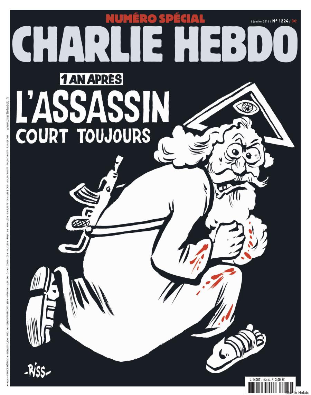 Charlie Hebdo l'assassin court toujours. Couverture du 6 janvier 2016