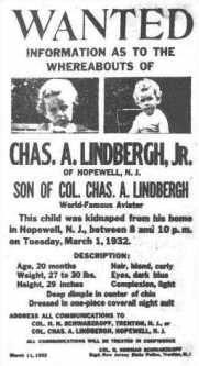 wanted kidnapping bébé lindbergh