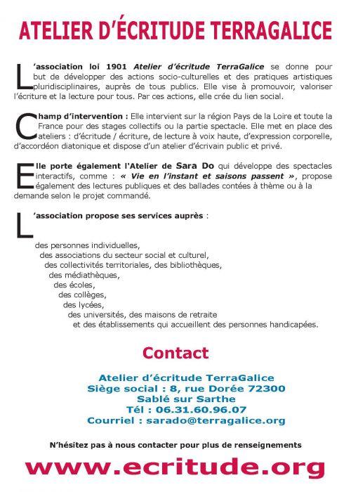 Flyer Atelier d'écritude Terragalice verso