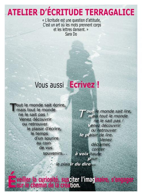 Flyer Atelier d'écritude Terragalice recto