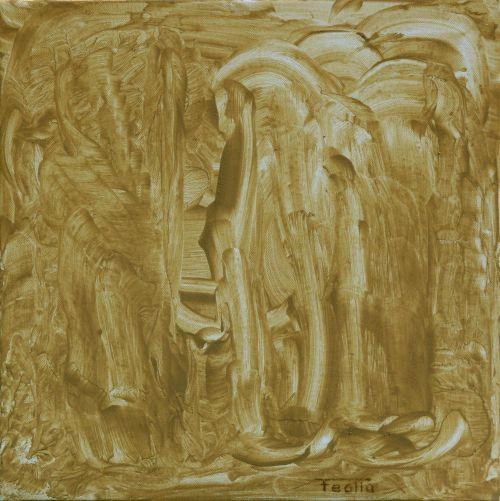Face à Face - Terre sur toile - 50x50 cm