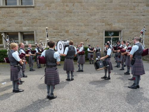 Isle of Cumbrae Pipe Band in training