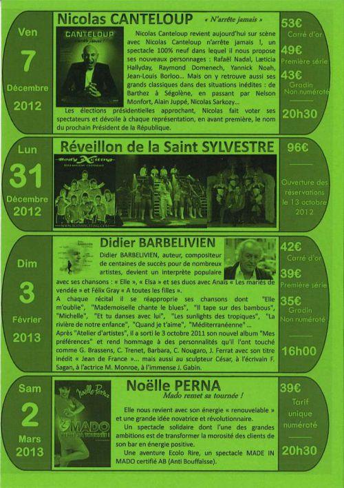 Flyer de la programmation 201/2013 envoyé par Roland notre guide