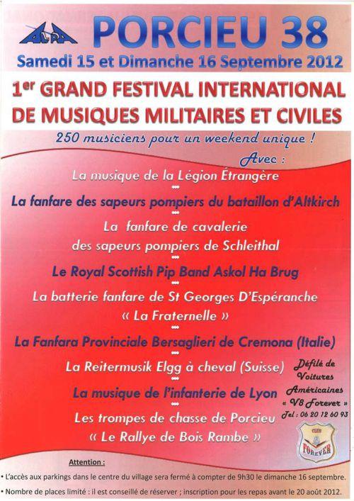 Flyer de la programmation du Festival Internation de Musique Militaire de Porcieu envoyé par Roland notre guide