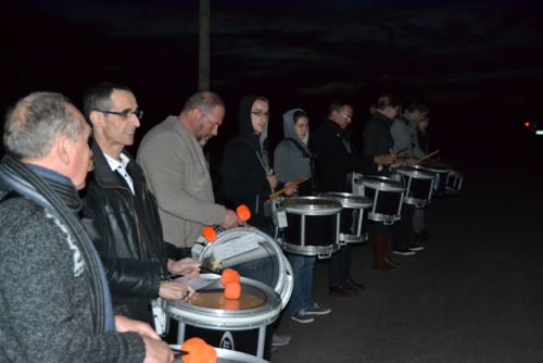 Drummers of Askol Ha Brug Pipe Band in the night