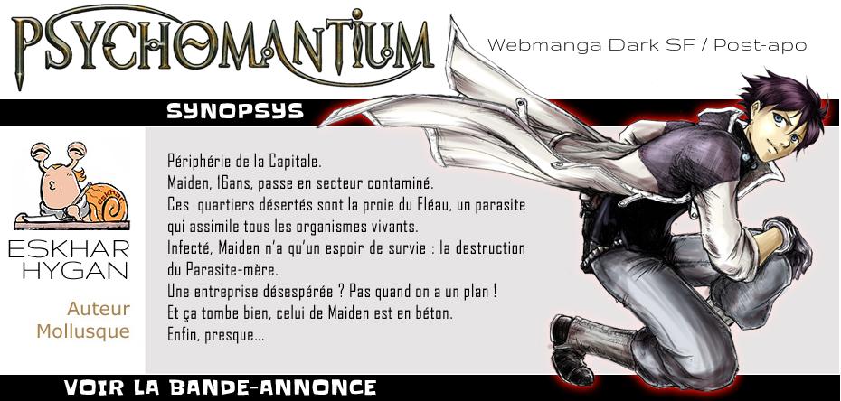 Bienvenue sur Psychomantium, un webmanga dark SF créé par Eskhar Hygan, à lire gratuitement en ligne.