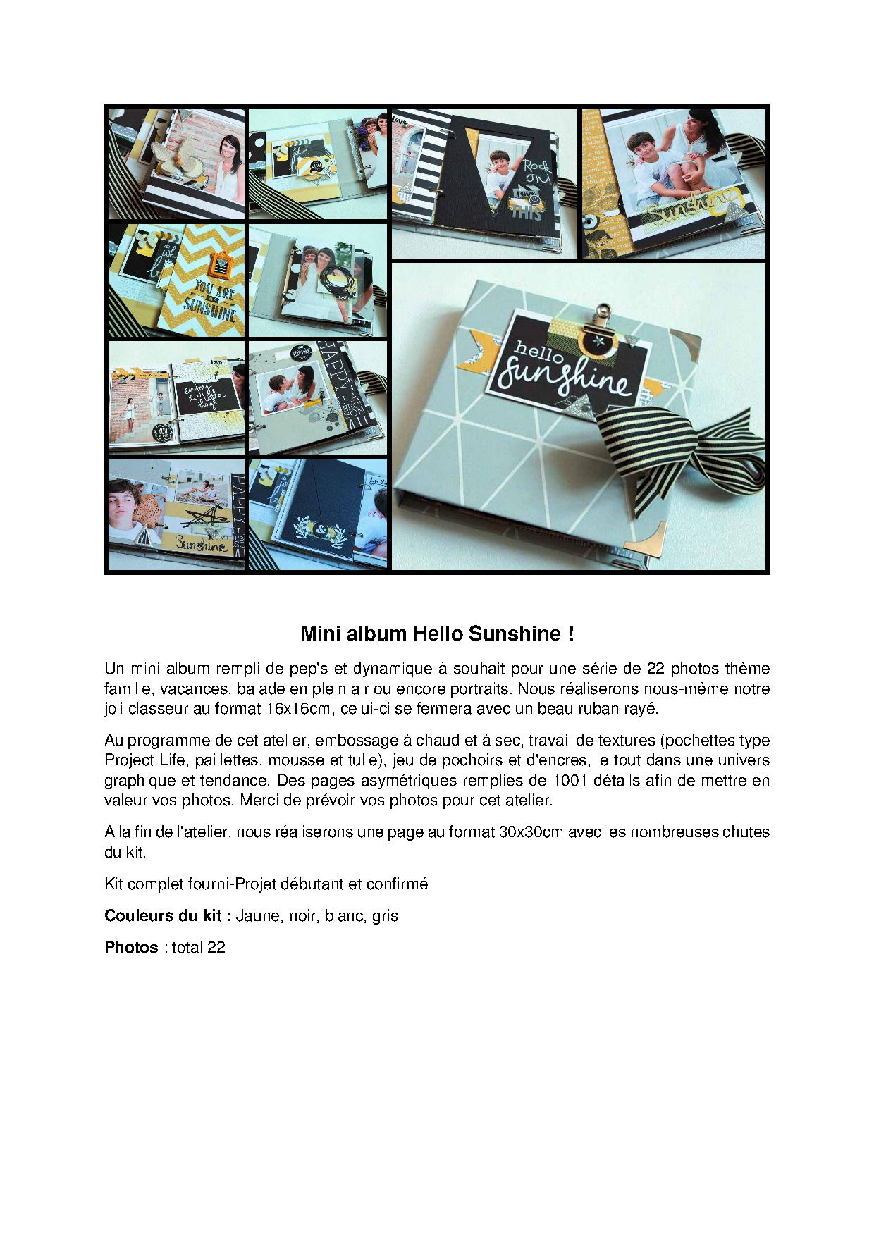 Mini album Hello Sunshine brève description Arial.jpg