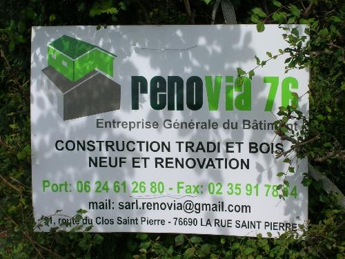 panneau de l'entreprise rénovia 76