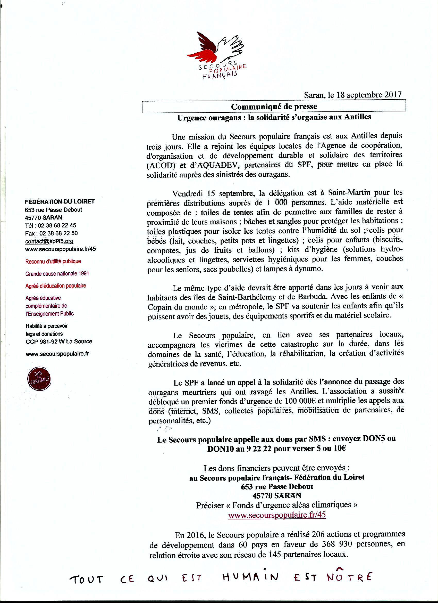 Scan Communiqué de presse Secours Populaire 45 2017 (18.09.jpg