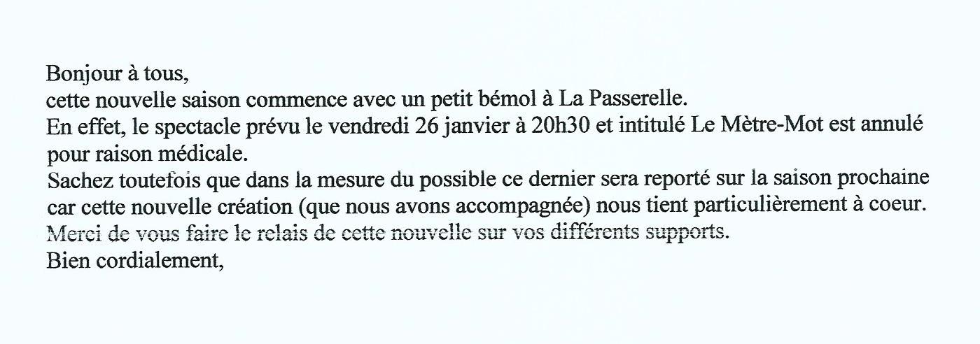 Scan Texte La Passerelle le Spectacle le mètre-mot est annulé (.jpg