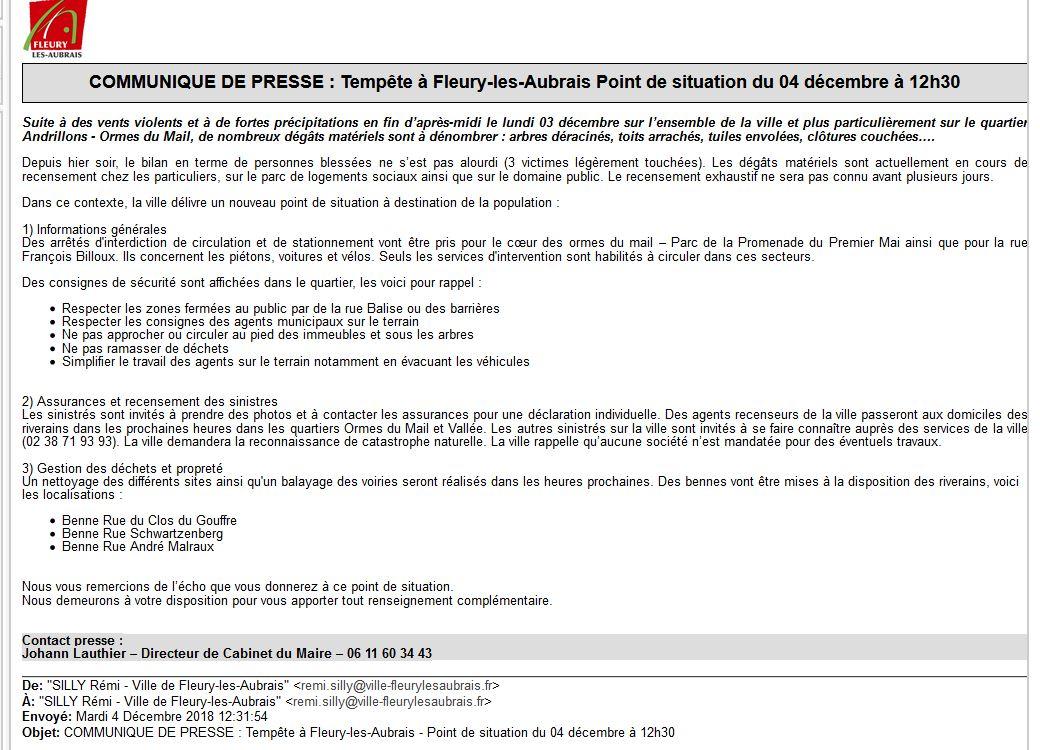 Capture Communiqué de presse Tempê à Fleury les aubrai Point de situation du 04 décembre à 12h30.JPG