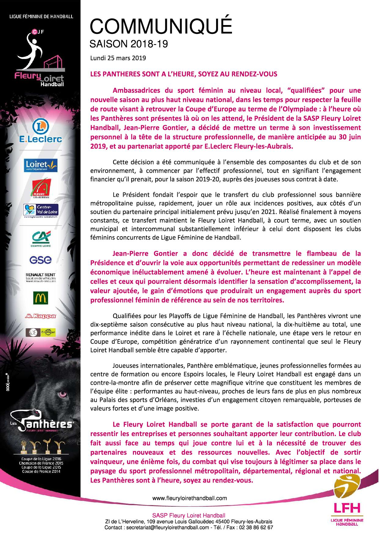 Communiqué Fleury Loiret Handball - Lundi 25 mars 2019 - Communiqué Fleury Loiret Handball - Lundi 25 mars 2019.jpg
