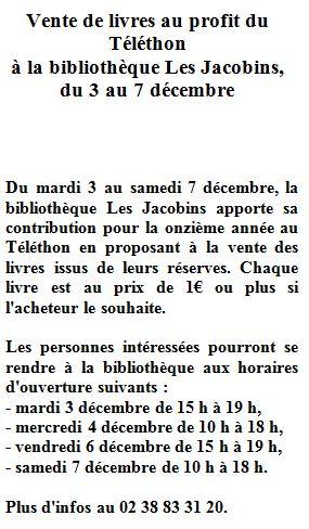 Capture Vente de livre au profit du téléthon à la bibliothèque les Jacobin 2019.JPG