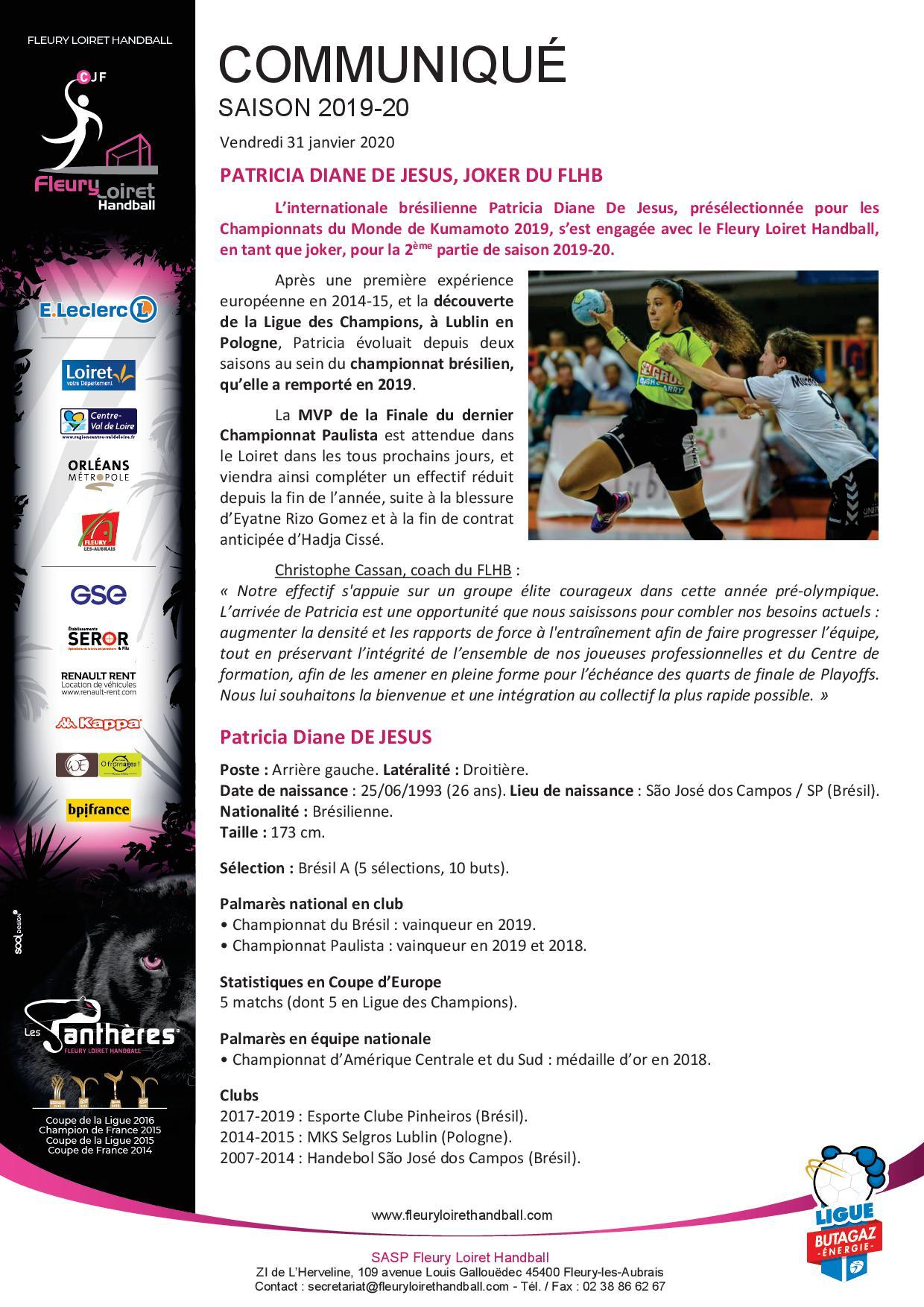 Communiqué Fleury Loiret Handball - Vendredi 31 janvier 2020.jpg