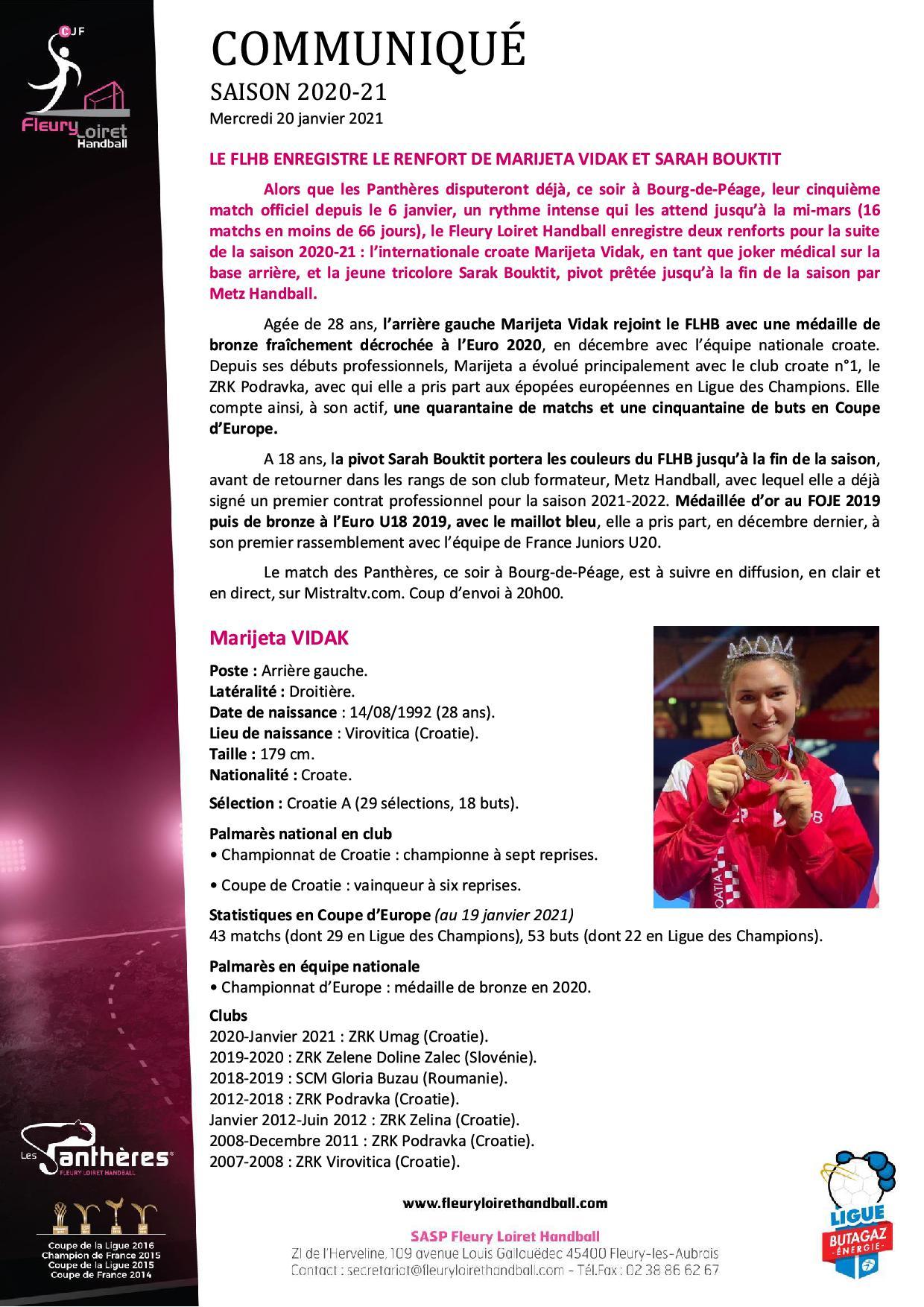 Communiqué Fleury Loiret Handball - Mercredi 20 janvier 2021 N° 21.jpg