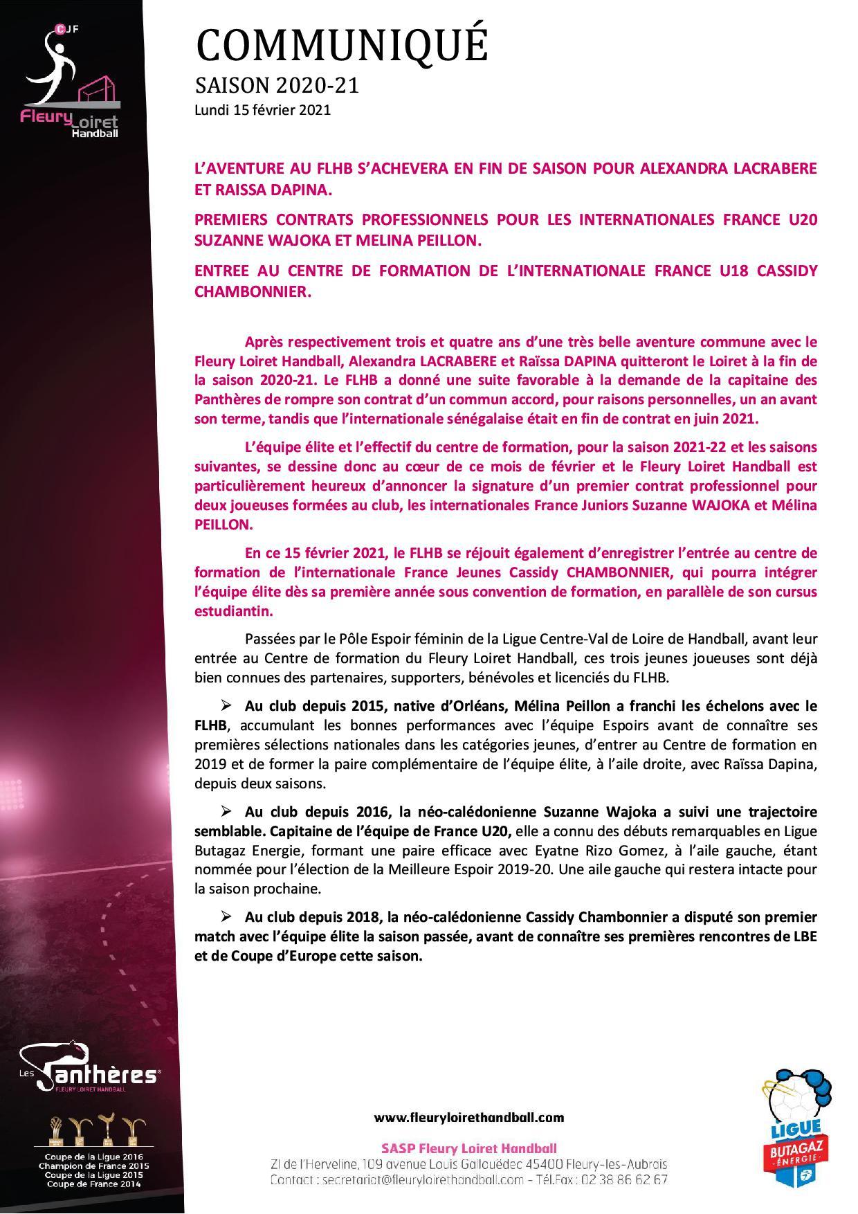 Communiqué Fleury Loiret Handball - Lundi 15 février 20211.jpg