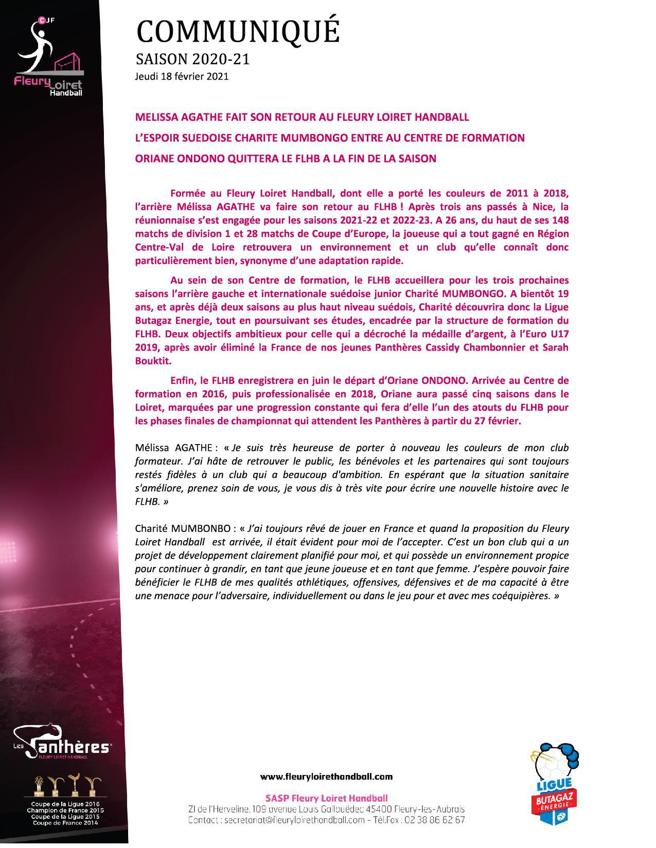 Communiqué du Fleury Loiret Handball - Jeudi 18 février 20211.jpg